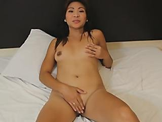 Asian Cutie With Perfectly Round Ass Is Smiling While Taking A Balls Deep Action