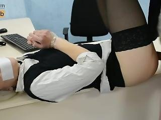 Young Secretary Fucks In Pussy & Anal On The Table - Misscharm
