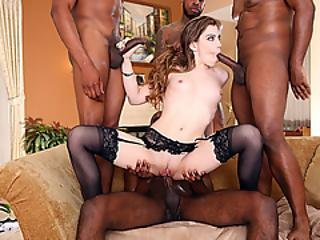Sexy Brunette Babe Pounded Hard By Four Raging Black Dicks