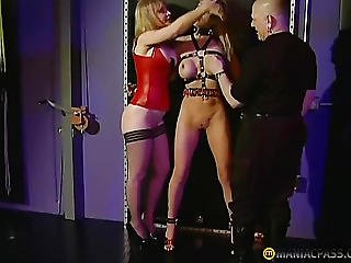 Blonde, Chained, Fetish, Fingering, Lick, Threesome
