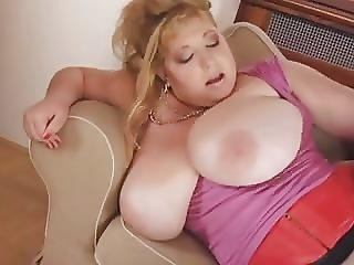 Big Busty Bbw Licks Cum On Her Massive Tits
