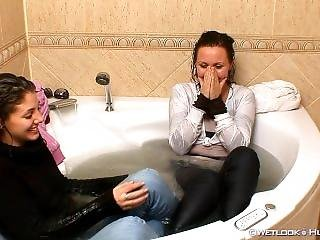 2 Students Take A Bath With Clothes On