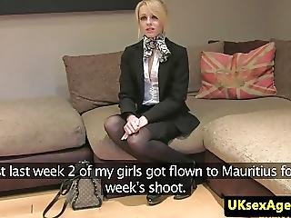 Casted Brit Pussyfucked During Interview