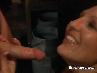 At The Strip Club Happy Slut Swallows A Mouthful Of Cum