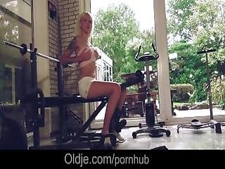 Delicious Teen Blonde Arteya Seduces Bald Old Man At Gym And Sexercize Him