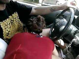 Car Head Gettin Sucked Down The Road While Smokin Blunt