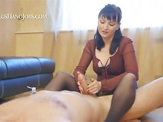 Lilu - Handjob In Black Pantyhose