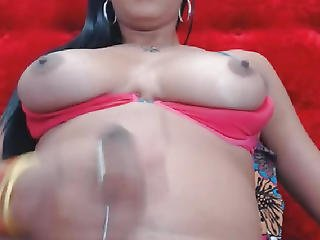 Breasty Lady-man Chick Jerking Off Her Shlong