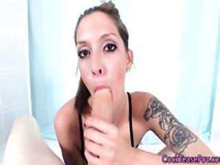Tattooed Beauty In Shoes Sucking Cock In Pov