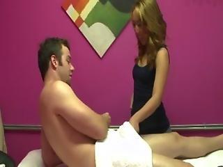 Asian masseuse securing a good tip