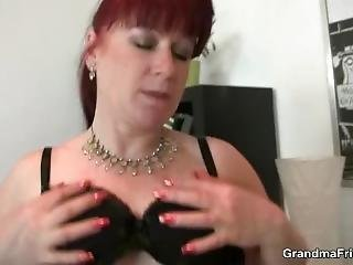 Office Mature Woman Enjoys Two Cocks At Once