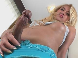 Hot Asian Tranny Babe Candy B Strokes Her Cock