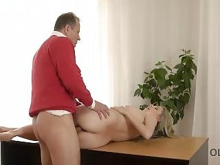 Old4k. Blonde-haired Teen Experiences Amazing Sex With Old Lover