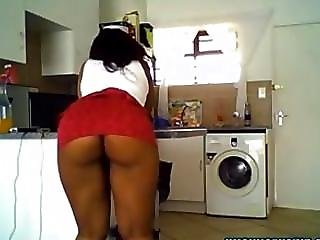 Sexy Ebony Girl With Juicy Ass Teasing In Kitchen