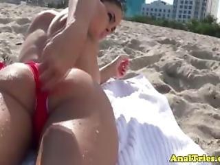 Busty Beach Babe Butt Fingered In Public