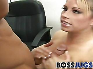 Boob, Boss, Busty, Hardcore, Knockers, Pornstar, Threesome, Workplace