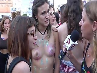 Insanely Cute Topless Argentinian Protesters