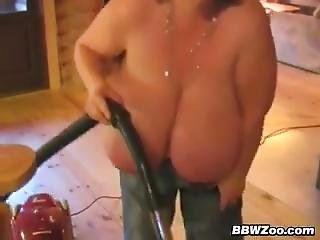 BBW With Big Tits Vacuuming