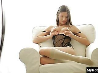 Neona Is A Gorgeous Brunette Teen Whos Home Alone After Her Boyfriend Told