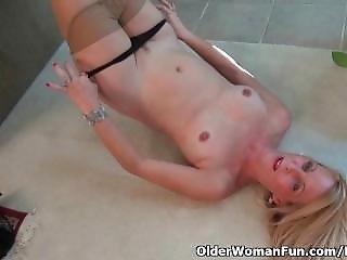 American, Masturbation, Mature, Milf, Panties, Pantyhose, Small Tits, Teasing