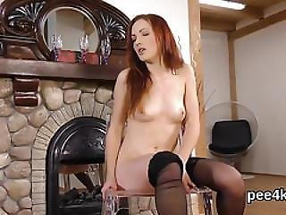 Perfect Kitten Is Peeing And Fingering Shaven Vagina