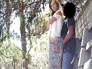 Jolie Model Interview At Coffee Shop Gets Fucked At Park In Public Creampie