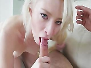 A Very Pretty Blonde Small Tit Teen Gives The Fabulous Blowjob To A Lucky Dude