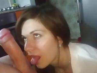 Beautiful Blonde Sucks At Home