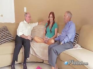As They Are Having A Conversation With This Redhead Teen They Proceed To Seduce Her Into Stripping Down For Them To Take Turns And Drill Her Cunt In Multiple Positions