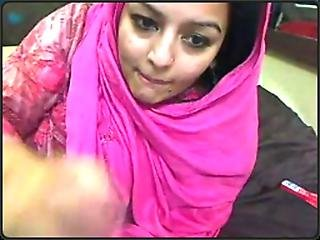 Desi Pakistani Woman In Scarf And Shalwar Kameez Playing Dirty