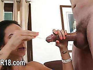 Fine Beauty Having Whole Cock In Her Mouth