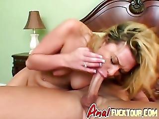 Blonde Gets White And Black Schlongs In Bedroom