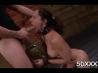 Large Cock Stuffs Roped Bitch