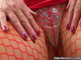 English Milf Lelani Has Put On Red Fishnet Tights And Lets Us Watch How She Dildos Her Wet Cunny Bonus Video: Uk Milf Sophia Delane