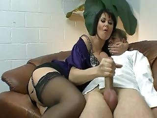 Watch this brunette give handjob porn