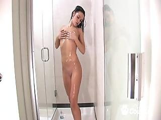 Amature Hottie With A Great Ass Fingers Herself Madly In The Shower