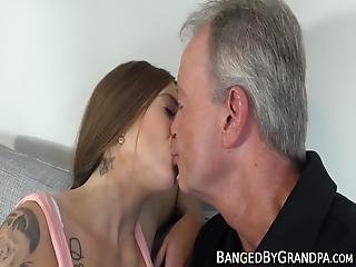 Young Hottie Seduces And Fucks Fat Dicked Grandpa! Her Tight Little Pussy Really Needed To Get Fucked By An Experienced Dick!