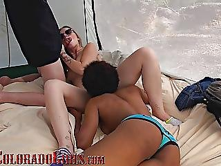 Interracial Camping Threesome