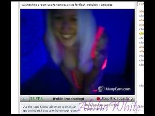 7/25 Chaturbate Stream Blacklight Dance In Neon Pink Lingerie Chubby Blonde