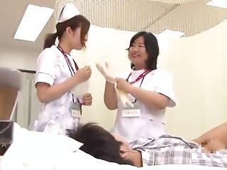 Arsch, Wichsen, Japanisch, Krankenschwester, Dreier, Uniform