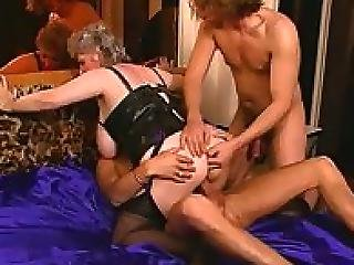 Karla Busty Grandma Pleased By Two Young Studs