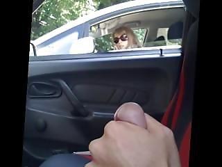 auto, pene, masturbación, milf, publico