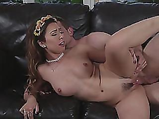 Latina Melissa Moore Gets Nailed Hard On The Sofa