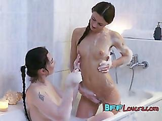 Horny College Dykes Have Fun In The Shower