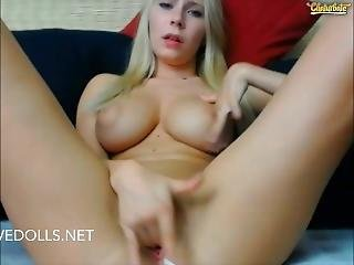 All Natural Swedish Webcam Blonde With Big Tits Plays With Her Pink Pussy