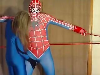 Superhero Wrestling Dry Humping Scissors