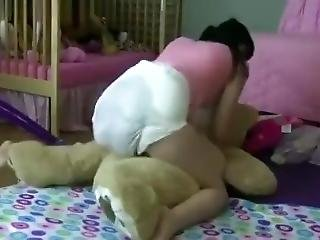 Lexi Cuddles Mr.bear With An Enermous Enema Mess In Her Diaper!