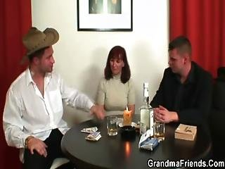 Poker-playing Granny Gets Fucked By Two Guys