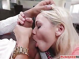 Poor Blondie Teen Marsha May Gets Nailed On Top Of Cock