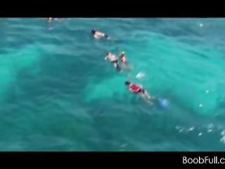 Sexy Teen Girls In Swim Suits Having Fun On A Yacht